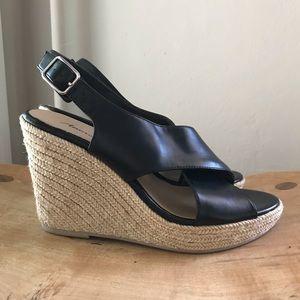 AEO Black Sling back Wedge Espadrille Sandals